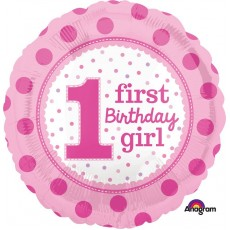 Girl's 1st Birthday Foil Balloon