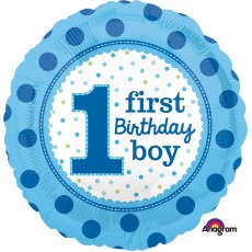 Boy's 1st Birthday Dots Foil Balloon