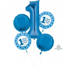 Boy's 1st Birthday Blue Bouquet Foil Balloons