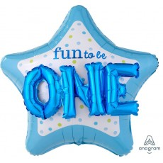 Boy's 1st Birthday Blue Fun to be ONE Foil Balloon