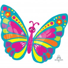 Multi Colour Junior XL Happy Spring Butterfly Shaped Balloon