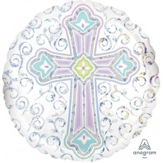 First Communion Standard Holographic Radiant Cross Foil Balloon 45cm
