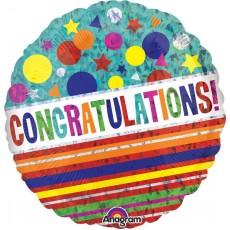 Congratulations Multi Coloured Sparkle Dots & Stripes Foil Balloon