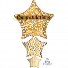 Congratulations Gold Star Stacker Shaped Balloon