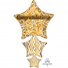 Congratulations Gold SuperShape Stacked Stars Shaped Balloon