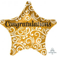 Star Hollywood Standard XL Sophisticated Congratulations Shaped Balloon 45cm