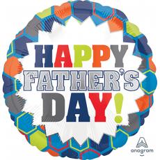 Round Standard HX Burst Happy Father's Day! Foil Balloon 45cm