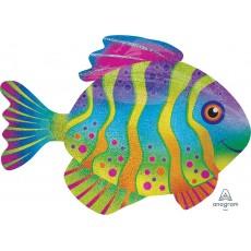 Hawaiian Luau Holographic SuperShape Colourful Fish Shaped Balloon