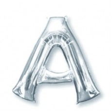 Letter A Silver Helium Saver Foil Balloon