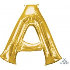 Gold Letter A SuperShape Shaped Balloon 86cm