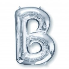 Letter B Silver SuperShape Shaped Balloon
