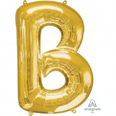 Gold Letter B SuperShape Shaped Balloon 86cm
