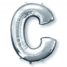 Silver Letter C SuperShape Shaped Balloon 86cm
