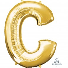 Letter C Gold SuperShape Shaped Balloon