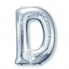 Silver Letter D SuperShape Shaped Balloon 86cm