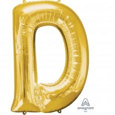 Letter D Gold Helium Saver Foil Balloon