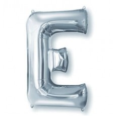 Silver Letter E SuperShape Shaped Balloon 86cm