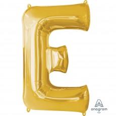 Gold Letter E SuperShape Shaped Balloon 86cm