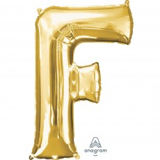 Letter F Gold Helium Saver Foil Balloon