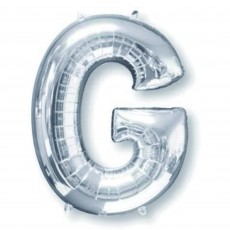 Silver Letter G SuperShape Shaped Balloon 86cm