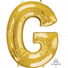 Gold Letter G SuperShape Shaped Balloon 86cm