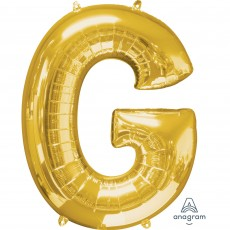 Letter G Gold SuperShape Shaped Balloon