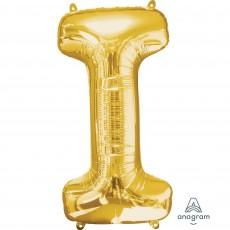 Gold Letter I SuperShape Shaped Balloon 86cm
