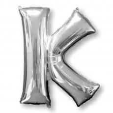Letter K Silver Helium Saver Foil Balloon
