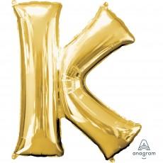 Gold Letter K SuperShape Shaped Balloon 86cm