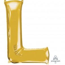Letter L Gold Helium Saver Foil Balloon