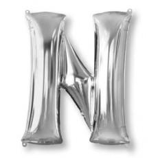 Letter N Silver Helium Saver Foil Balloon