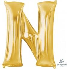 Letter N Gold Helium Saver Foil Balloon