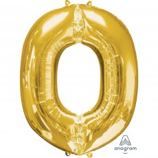 Letter O Gold SuperShape Shaped Balloon