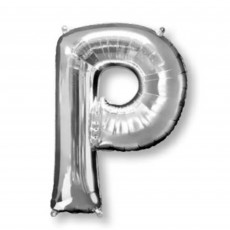 Silver Letter P SuperShape Shaped Balloon 86cm