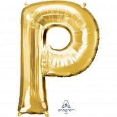 Gold Letter P SuperShape Shaped Balloon 86cm