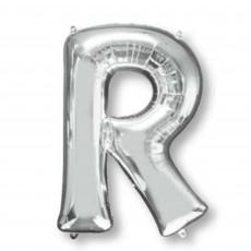 Letter R Silver Helium Saver Foil Balloon