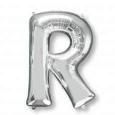 Silver Letter R SuperShape Shaped Balloon 86cm
