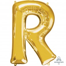 Letter R Gold Helium Saver Foil Balloon
