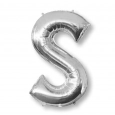 Silver Letter S SuperShape Shaped Balloon 86cm