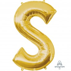 Gold Letter S SuperShape Shaped Balloon 86cm