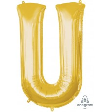 Gold Letter U SuperShape Shaped Balloon 86cm
