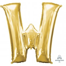Letter W Gold Helium Saver Foil Balloon
