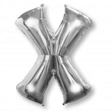 Silver Letter X SuperShape Shaped Balloon 86cm