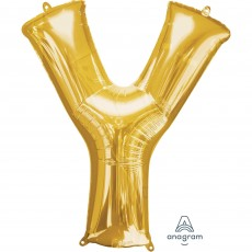 Letter Y Gold Helium Saver Foil Balloon
