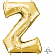 Letter Z Gold SuperShape Shaped Balloon