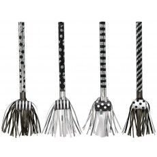 Dots & Stripes Black & White Fringed Blowouts