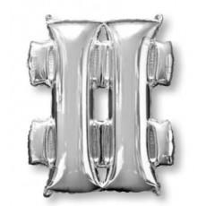 Silver Hashtag Symbol SuperShape Shaped Balloon 86cm