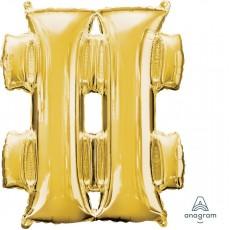 Gold Hashtag Symbol SuperShape Shaped Balloon 86cm