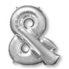 Silver Ampersand Symbol SuperShape Shaped Balloon 86cm