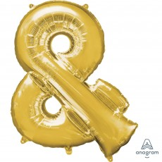 Ampersand Symbol Gold Helium Saver Foil Balloon